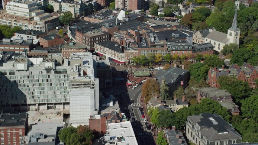 6K stock footage aerial video orbiting Harvard University, Harvard Square, Cambridge,  Massachusetts Aerial Stock Footage | AX142_108