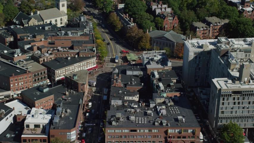 6K stock footage aerial video orbiting Harvard University, Harvard Square, Cambridge, Massachusetts Aerial Stock Footage | AX142_110