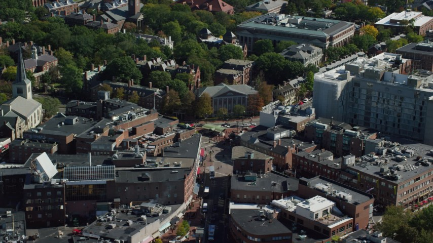 6K aerial video orbiting Harvard Square, Harvard University, Cambridge, Massachusetts Aerial Stock Footage | AX142_111