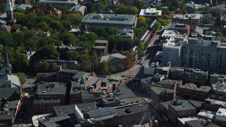 6K aerial video orbiting Harvard Square, Harvard University, Cambridge, Massachusetts Aerial Stock Footage | AX142_112