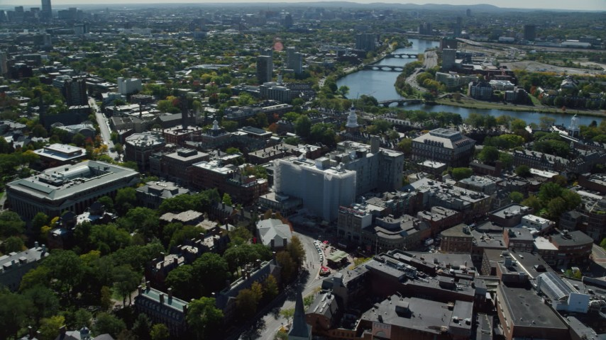 6K stock footage aerial video approaching Harvard University, Charles River, Cambridge, Massachusetts Aerial Stock Footage | AX142_114
