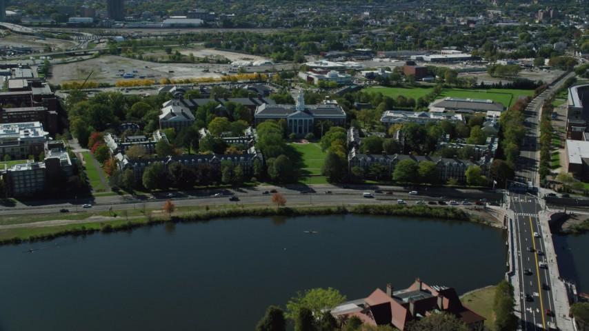 6K stock footage aerial video of Harvard University, Harvard Business School, Cambridge, Massachusetts Aerial Stock Footage | AX142_115