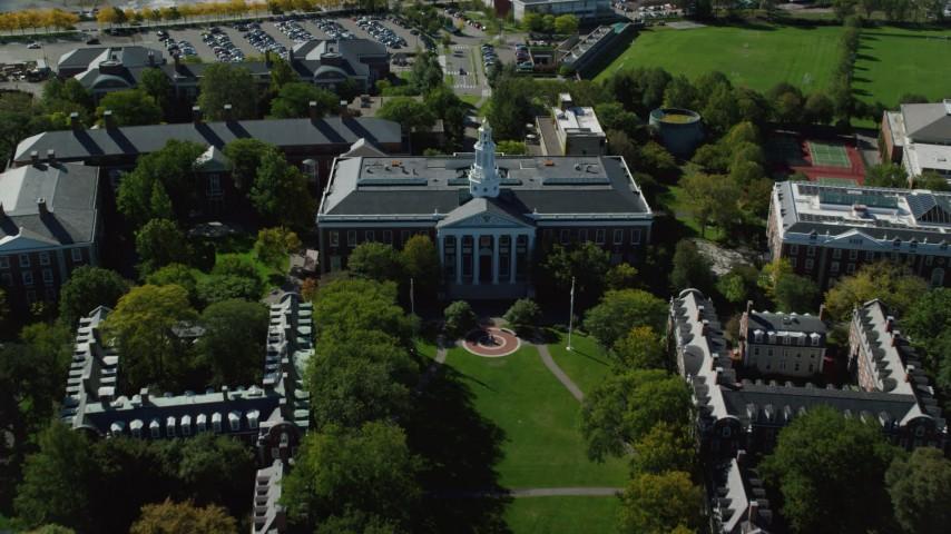 6K stock footage aerial video approaching Harvard Business School, Harvard University, Cambridge, Massachusetts Aerial Stock Footage | AX142_116