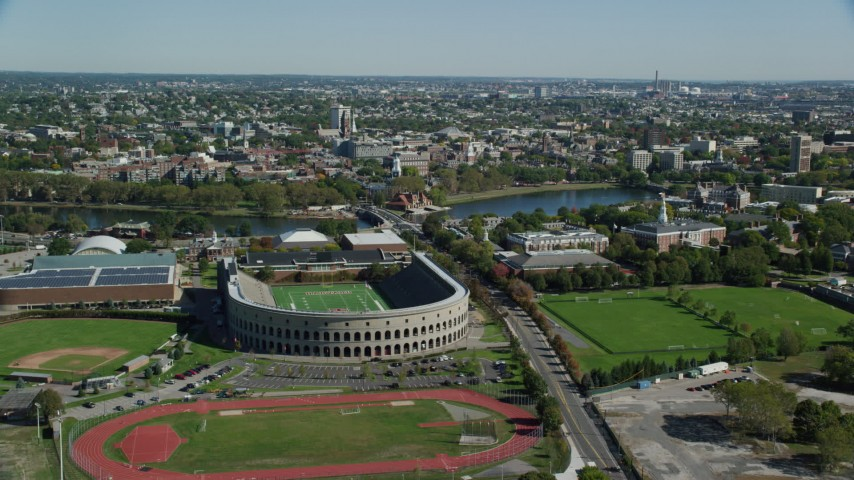 6K aerial video approaching Harvard Stadium, Harvard University, Cambridge, Massachusetts Aerial Stock Footage | AX142_119