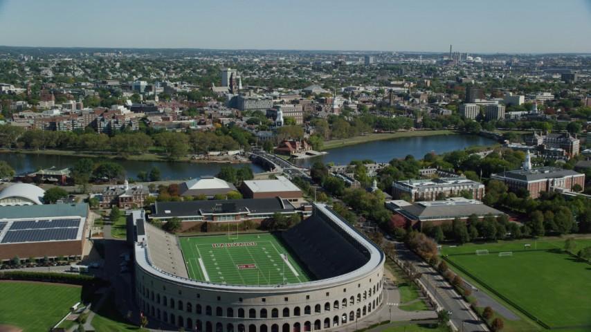 6K stock footage aerial video flying over Harvard Stadium, approach Harvard University, Cambridge, Massachusetts Aerial Stock Footage | AX142_120