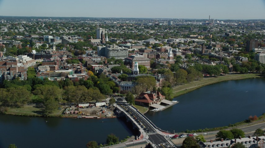 6K stock footage aerial video flying over Anderson Memorial Bridge, Harvard University, Cambridge, Massachusetts Aerial Stock Footage AX142_121
