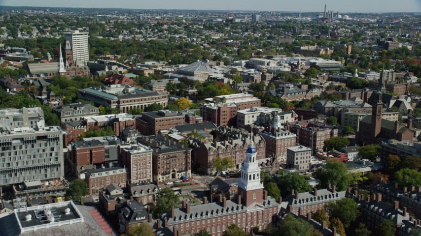 6K aerial video of Eliot House, Lowell House, Harvard University, Cambridge, Massachusetts Aerial Stock Footage AX142_122