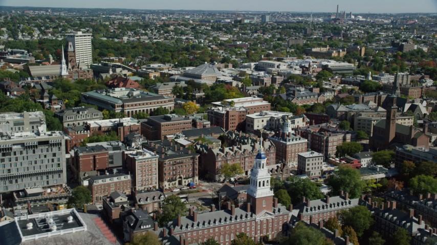 6K stock footage aerial video of Eliot House, Lowell House, Harvard University, Cambridge, Massachusetts Aerial Stock Footage | AX142_122