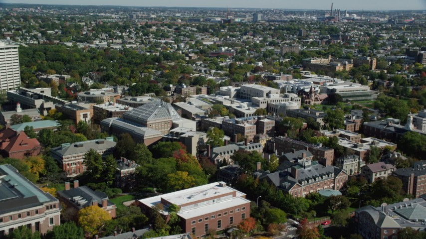 6K stock footage aerial video flying over the Harvard University campus, Cambridge, Massachusetts Aerial Stock Footage | AX142_123