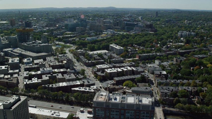6K stock footage aerial video approaching, flying over Longwood Medical Area, Boston, Massachusetts Aerial Stock Footage | AX142_128