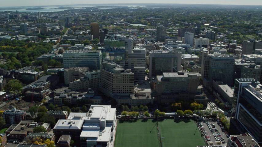 6K stock footage aerial video orbiting Beth Israel Hospital, Longwood Medical Area, Boston, Massachusetts Aerial Stock Footage | AX142_130