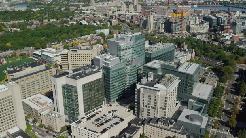 6K stock footage aerial video orbiting the Longwood Medical Area, Boston, Massachusetts Aerial Stock Footage   AX142_132