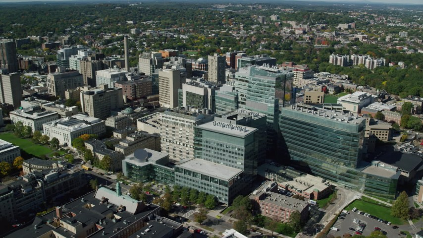 6K stock footage aerial video orbiting Longwood Medical Area, Boston, Massachusetts Aerial Stock Footage | AX142_133