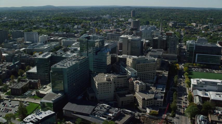 6K stock footage aerial video orbiting Beth Israel Hospital, Longwood Medical Area, Boston, Massachusetts Aerial Stock Footage | AX142_135
