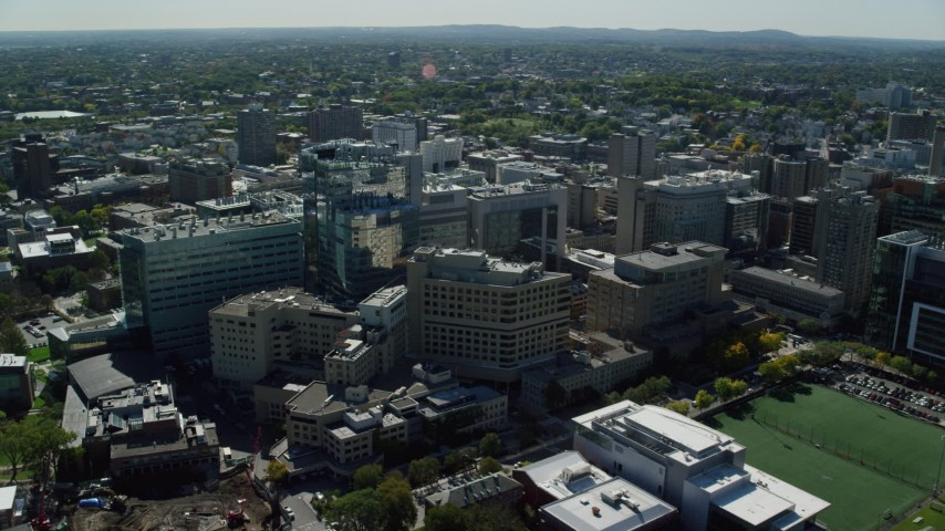 6K stock footage aerial video orbiting Beth Israel Hospital, Longwood Medical Area, Boston, Massachusetts Aerial Stock Footage | AX142_136