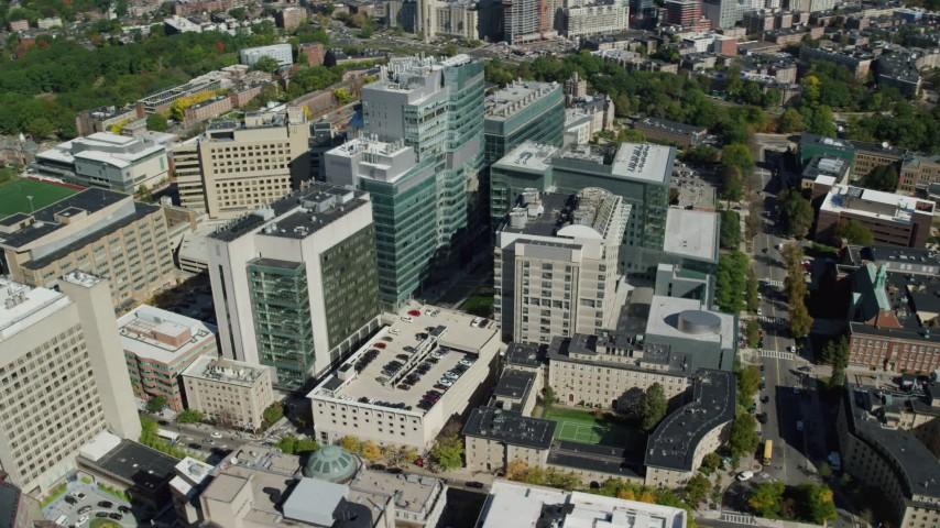 6K stock footage aerial video orbiting Beth Israel Hospital, Longwood Medical Area, Boston, Massachusetts Aerial Stock Footage | AX142_139