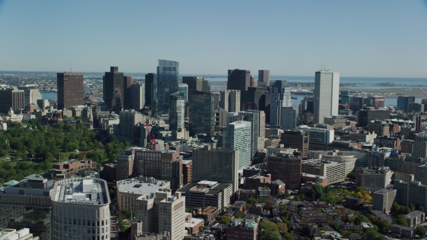6K stock footage aerial video flying by buildings and skyscrapers, Downtown Boston, Massachusetts Aerial Stock Footage | AX142_152