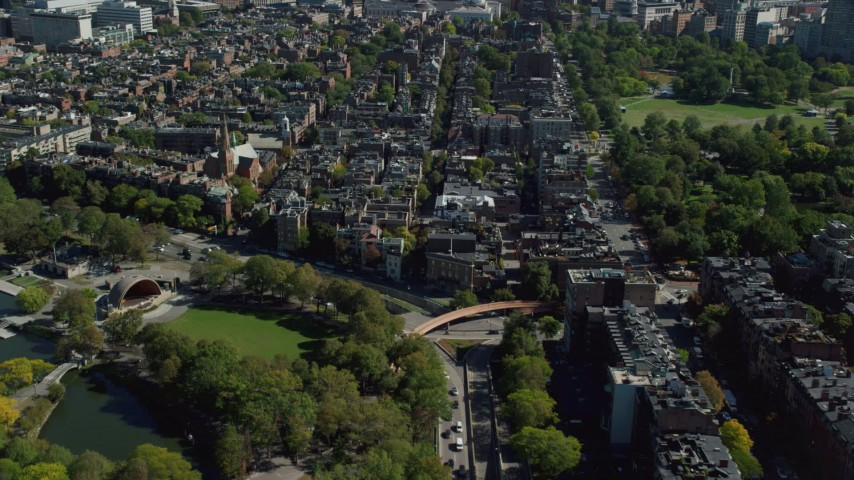 6K stock footage aerial video approaching Beacon Hill, row houses, Downtown Boston, Massachusetts Aerial Stock Footage | AX142_154