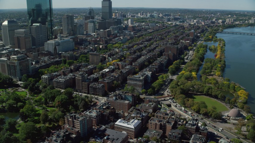 6K stock footage aerial video approaching Victorian brownstones, Back Bay, Downtown Boston, Massachusetts Aerial Stock Footage | AX142_156