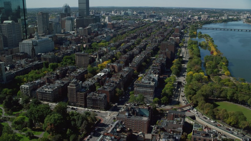 6K stock footage aerial video approaching Victorian brownstones, Back Bay, Downtown Boston, Massachusetts Aerial Stock Footage | AX142_157