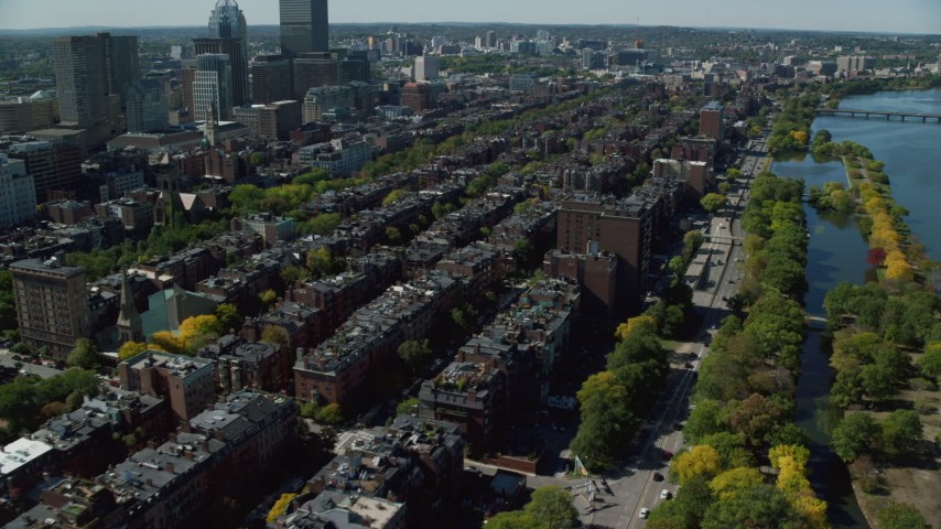 6K stock footage aerial video flying by Victorian brownstones, Back Bay, Downtown Boston, Massachusetts Aerial Stock Footage | AX142_158