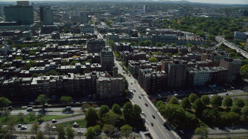 6K stock footage aerial video of Victorian brownstones, apartments, Back Bay, Downtown Boston, Massachusetts Aerial Stock Footage | AX142_160