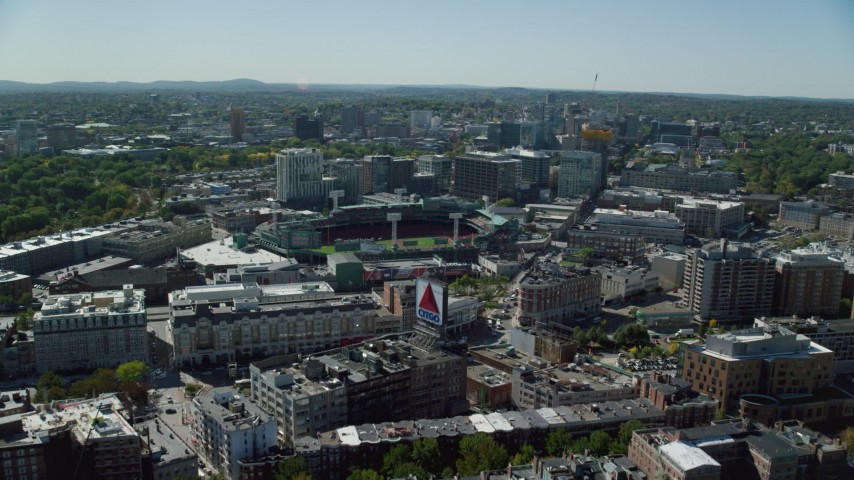 6K stock footage aerial video approaching Fenway Park, Boston, Massachusetts Aerial Stock Footage | AX142_161