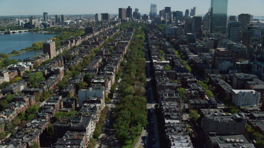 6K stock footage aerial video flying over Victorian brownstones, Back Bay, Downtown Boston, Massachusetts Aerial Stock Footage | AX142_163