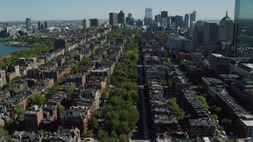 6K stock footage aerial video flying over Victorian brownstones, Back Bay, Downtown Boston, Massachusetts Aerial Stock Footage | AX142_164