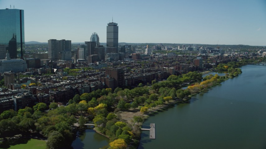 6K stock footage aerial video flying by buildings and parks, Back Bay, Downtown Boston, Massachusetts Aerial Stock Footage | AX142_168