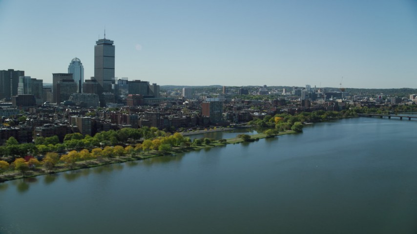 6K stock footage aerial video flying by buildings and parks, Back Bay, Downtown Boston, Massachusetts Aerial Stock Footage AX142_169 | Axiom Images