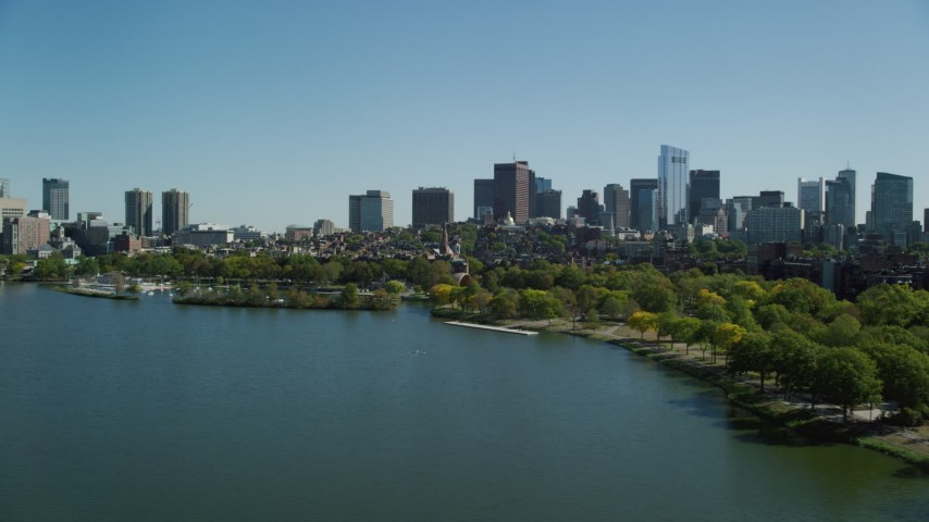 6K stock footage aerial video approaching buildings and parks, Beacon Hill, Downtown Boston, Massachusetts Aerial Stock Footage   AX142_173