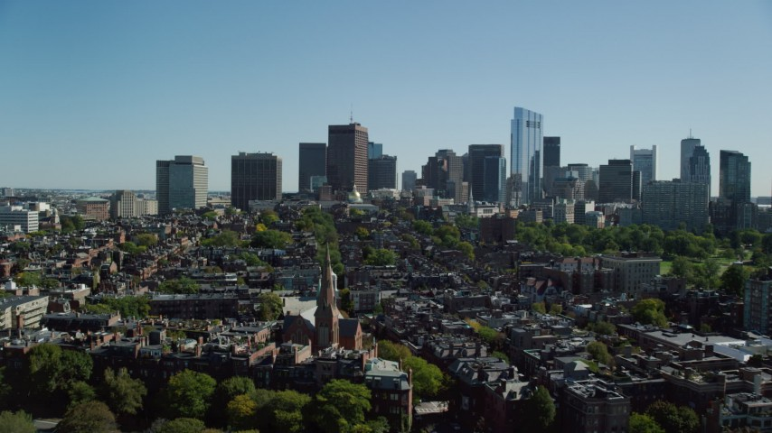 6K stock footage aerial video flying over parks, approaching Beacon Hill, Downtown Boston, Massachusetts Aerial Stock Footage | AX142_174