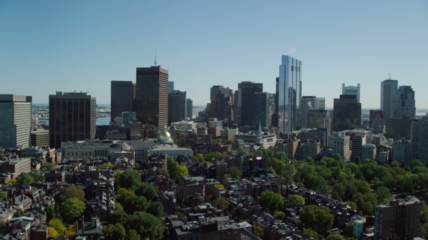 6K stock footage aerial video of Massachusetts State House, Beacon Hill, Downtown Boston, Massachusetts Aerial Stock Footage   AX142_175