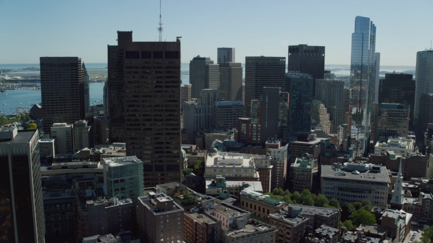 6K stock footage aerial video of Massachusetts State House, skyscrapers, Downtown Boston, Massachusetts Aerial Stock Footage | AX142_176