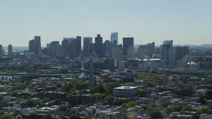 6K stock footage aerial video of Bunker Hill Monument, Downtown Boston skyline, Charlestown, Massachusetts Aerial Stock Footage | AX142_181