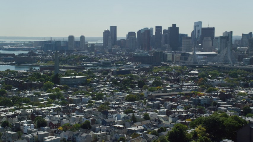 6K stock footage aerial video of Bunker Hill Monument, Downtown Boston skyline, Charlestown, Massachusetts Aerial Stock Footage | AX142_184