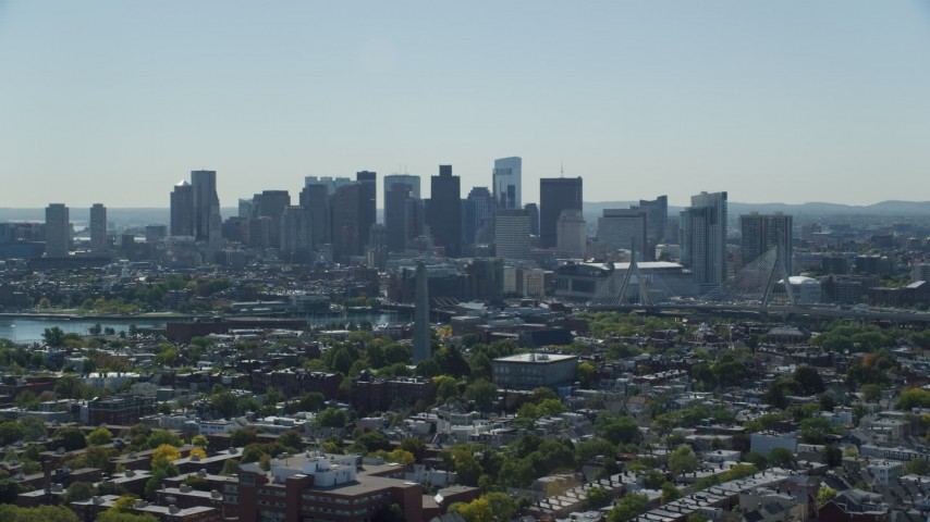 6K stock footage aerial video of Bunker Hill Monument, Downtown Boston skyline, Charlestown, Massachusetts Aerial Stock Footage | AX142_185