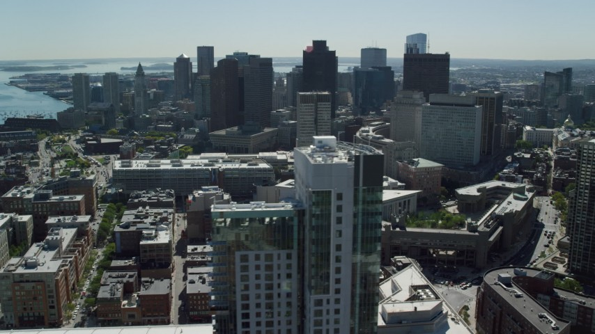 6K stock footage aerial video flying by TD Garden and Downtown Boston, Massachusetts Aerial Stock Footage | AX142_198