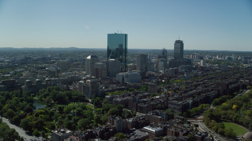 6K stock footage aerial video approaching skyscrapers, Downtown Boston, Massachusetts Aerial Stock Footage | AX142_200