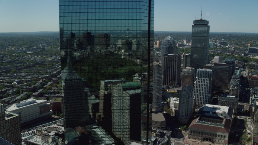 6K stock footage aerial video of John Hancock Tower, skyscrapers, Downtown Boston, Massachusetts Aerial Stock Footage | AX142_202