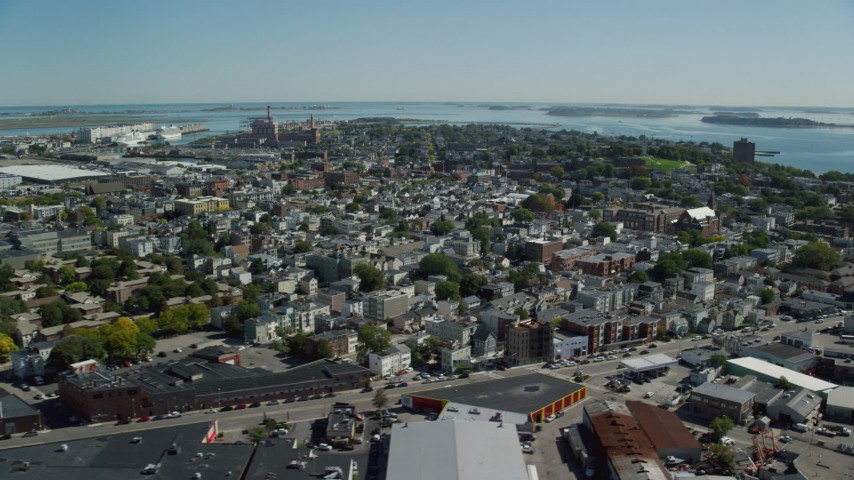 6K stock footage aerial video flying by a residential neighborhood, South Boston, Massachusetts Aerial Stock Footage | AX142_205