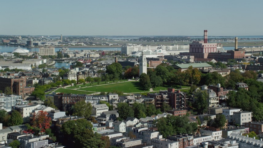 6K stock footage aerial video flying by Dorchester Heights Monument, South Boston, Massachusetts Aerial Stock Footage | AX142_207