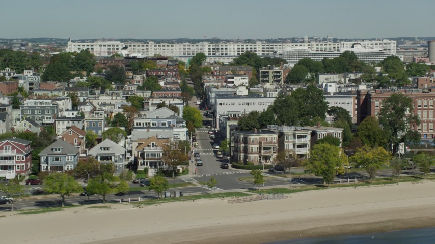 6K stock footage aerial video flying by beachfront homes, South Boston, Massachusetts Aerial Stock Footage | AX142_212