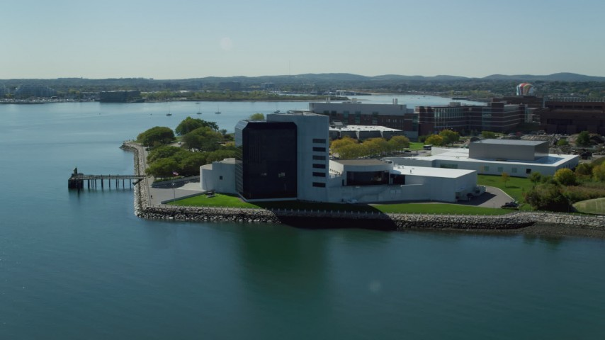 6K stock footage aerial video orbiting the John F. Kennedy Presidential Library, Boston, Massachusetts Aerial Stock Footage | AX142_217