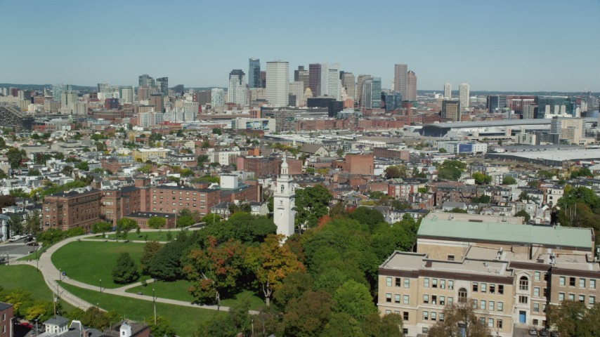 6K stock footage aerial video of Dorchester Heights Monument, approach Downtown, South Boston, Massachusetts Aerial Stock Footage | AX142_227