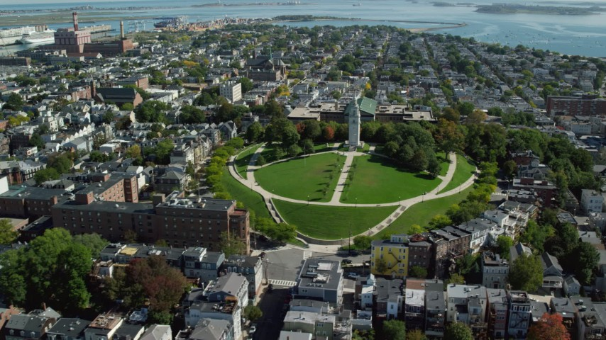 6K stock footage aerial video of neighborhoods, Dorchester Heights Monument, South Boston, Massachusetts Aerial Stock Footage | AX142_230
