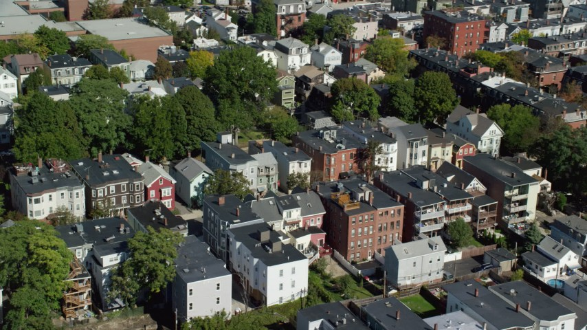 6K stock footage aerial video flying by residential neighborhoods, South Boston, Massachusetts Aerial Stock Footage | AX142_232