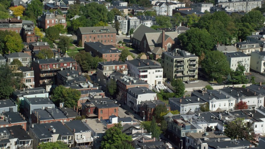 Flying By Apartment Buildings, Quiet Streets, South Boston, Massachusetts  Aerial Stock Footage AX142_234
