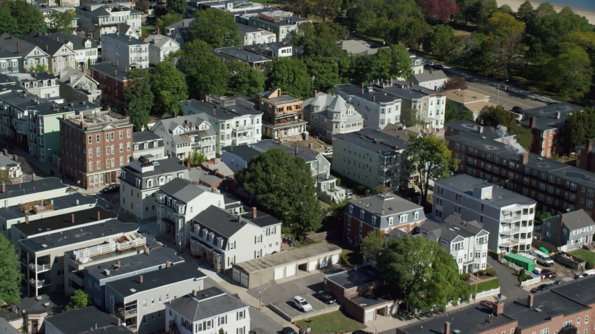 Flying By Apartment Buildings, Quiet Streets, South Boston, Massachusetts  Aerial Stock Footage AX142_235
